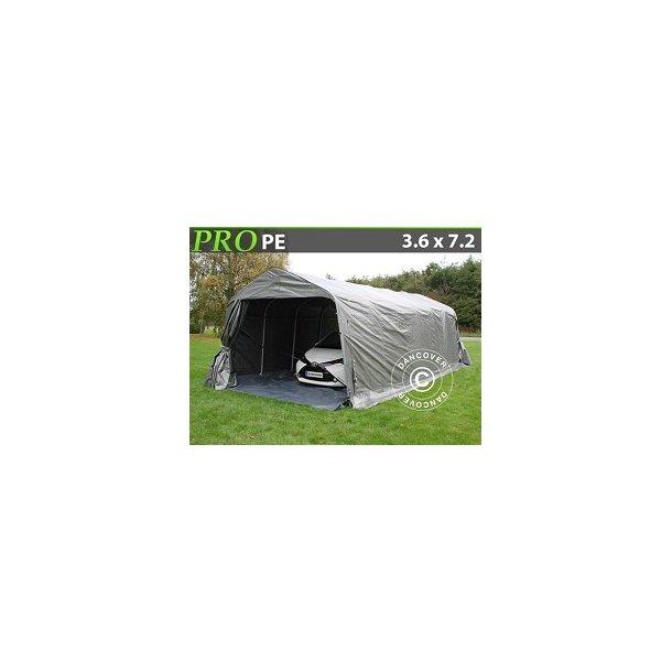 Garagetält PRO 3,6x7,2x2,68m PE Grå med golvduk