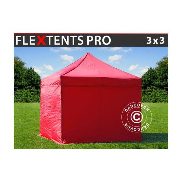 FleXtents PRO 3x3m Röd, inkl. 4 sidor