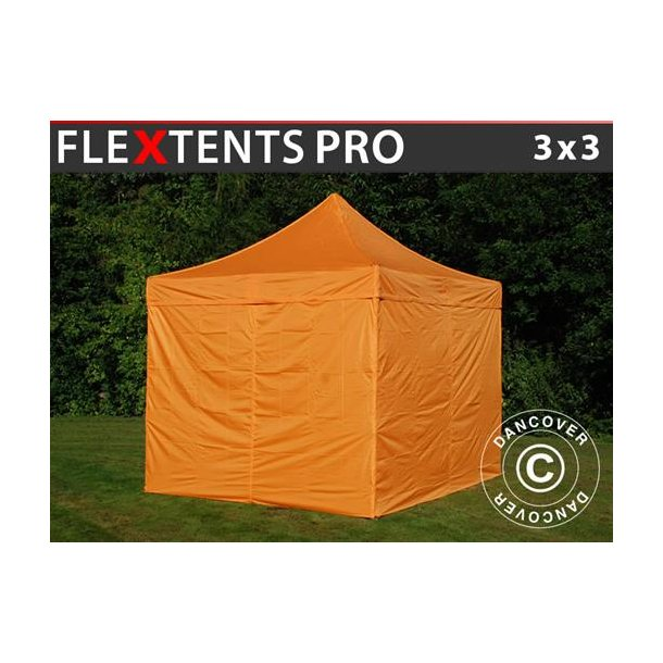 FleXtents PRO 3x3m Orange, inkl. 4 sidor