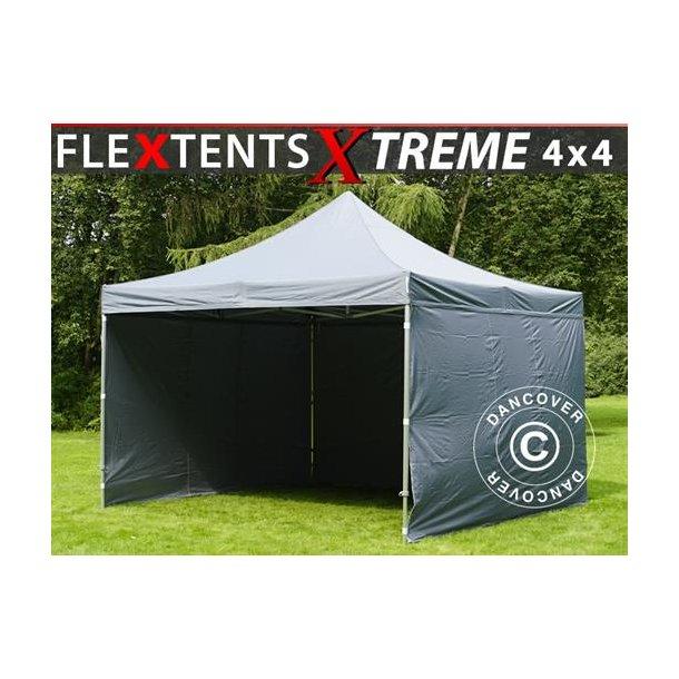 Snabbtält FleXtents Xtreme 4x4m Grå, inkl. 4 sidor