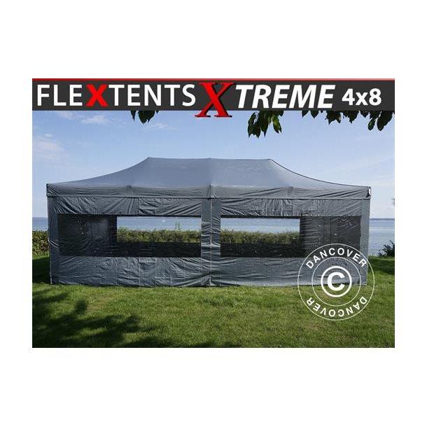 Snabbtält FleXtents Xtreme 4x8m Grå, inkl. 6 sidor