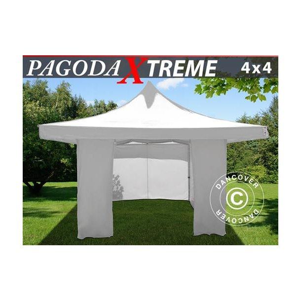 Snabbtält FleXtents Pagoda Xtreme 4x4m / (5x5m) Vit, inkl. 4 sidor