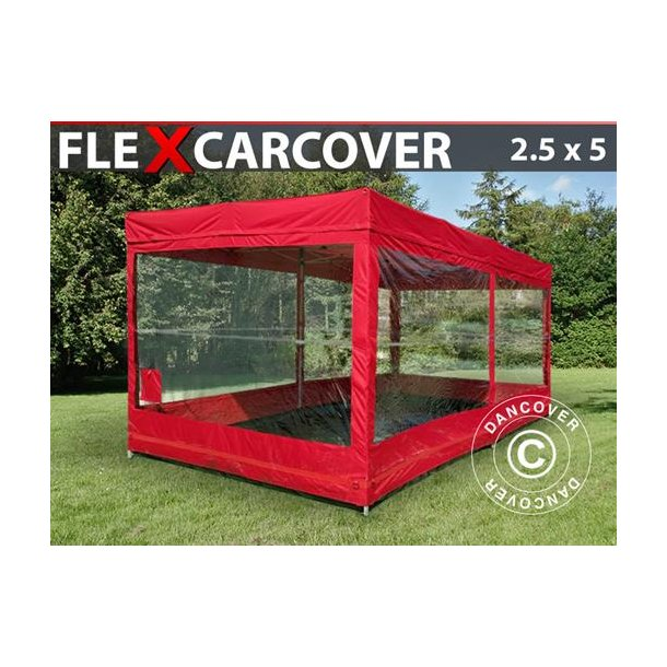 FT04821 Hopfällbart garage, FleX Carcover, 2,5x5m, Röd