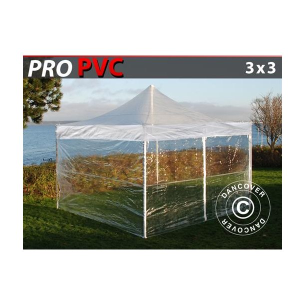 FleXtents PRO 3x3m Transparent, inkl. 4 sidor