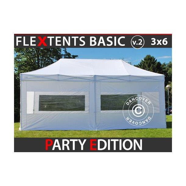 FleXtents Basic v.2, 3x6m Vit ,Party Edition  inkl. 6 sidor