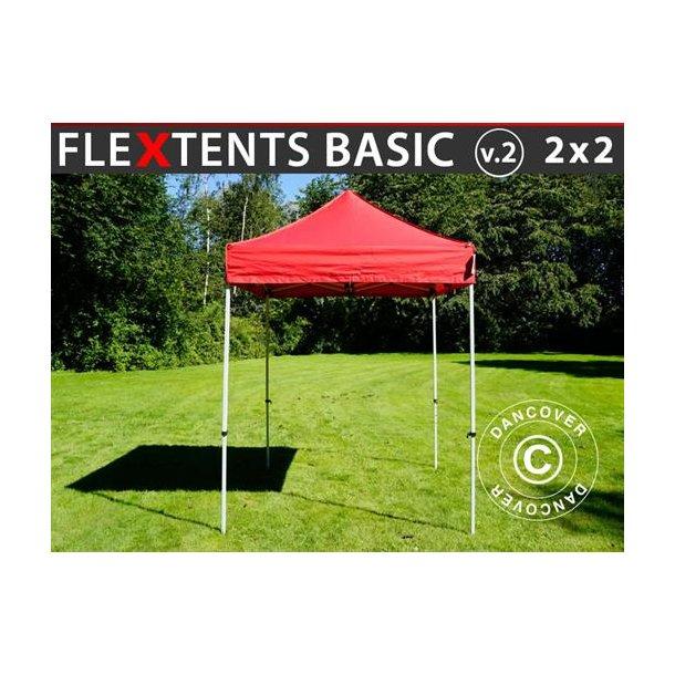 Snabbtält FleXtents Basic v.2, 2x2m Röd utan sidoväggar