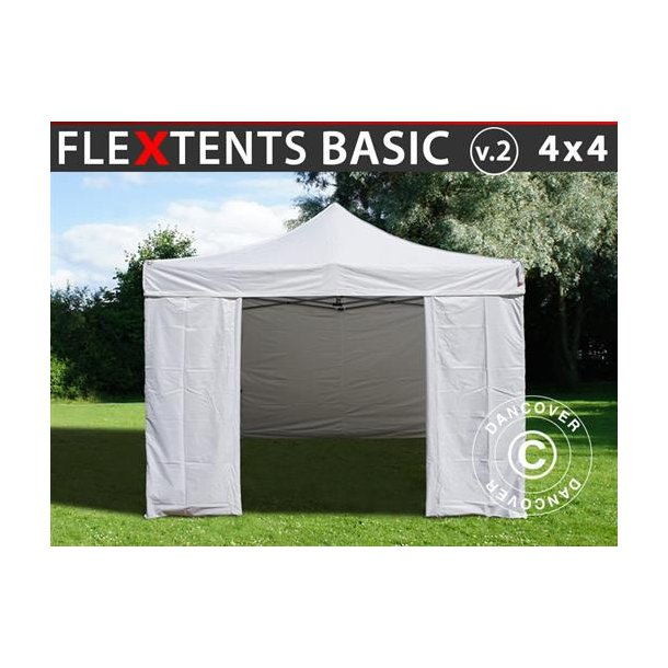 FleXtents Basic v.2, 4x4m Vit, inkl. 4 sidor
