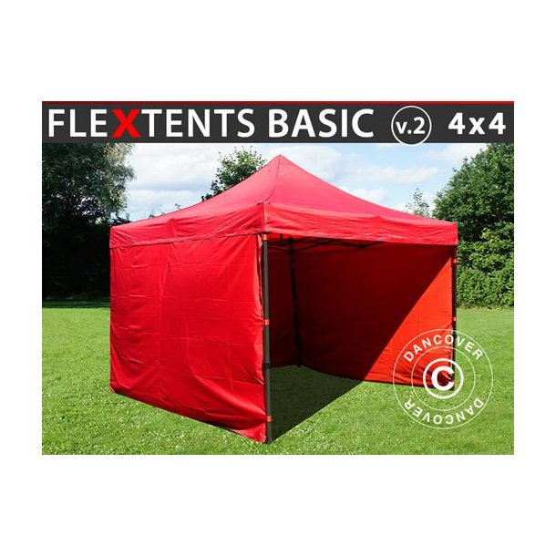 FT135578 FleXtents Basic v.2, 4x4m Röd, inkl. 4 sidor